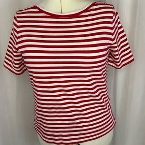 Tommy Hilfiger Red & White Boat Neck Tee PL